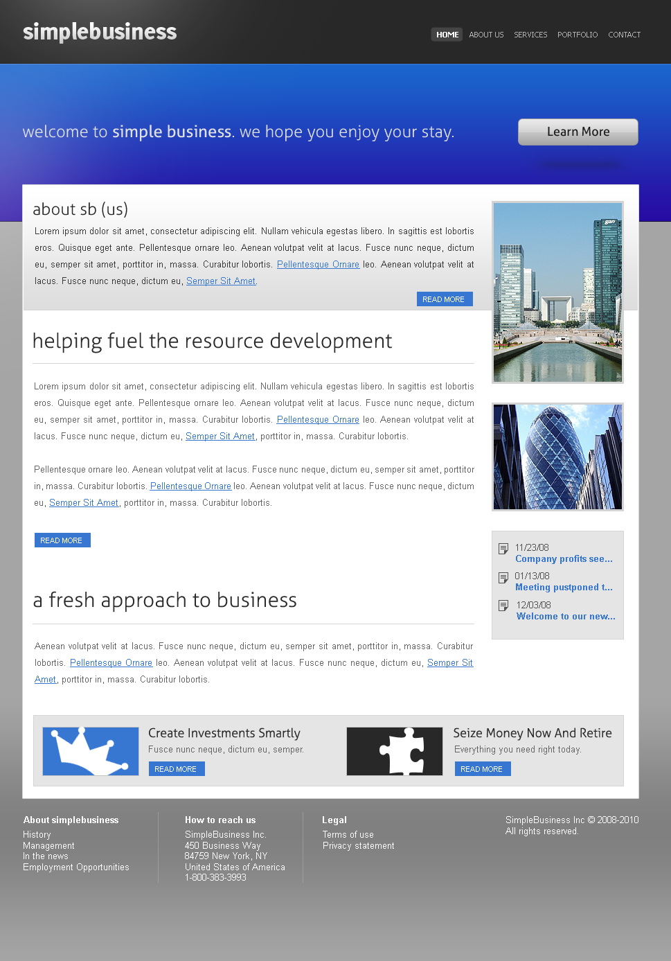 SimpleBusiness Theme - A simple business-oriented theme which can be easily modified to fit just about any website, a very open and modern look.