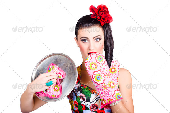 Surprised pinup woman cook - Stock Photo - Images