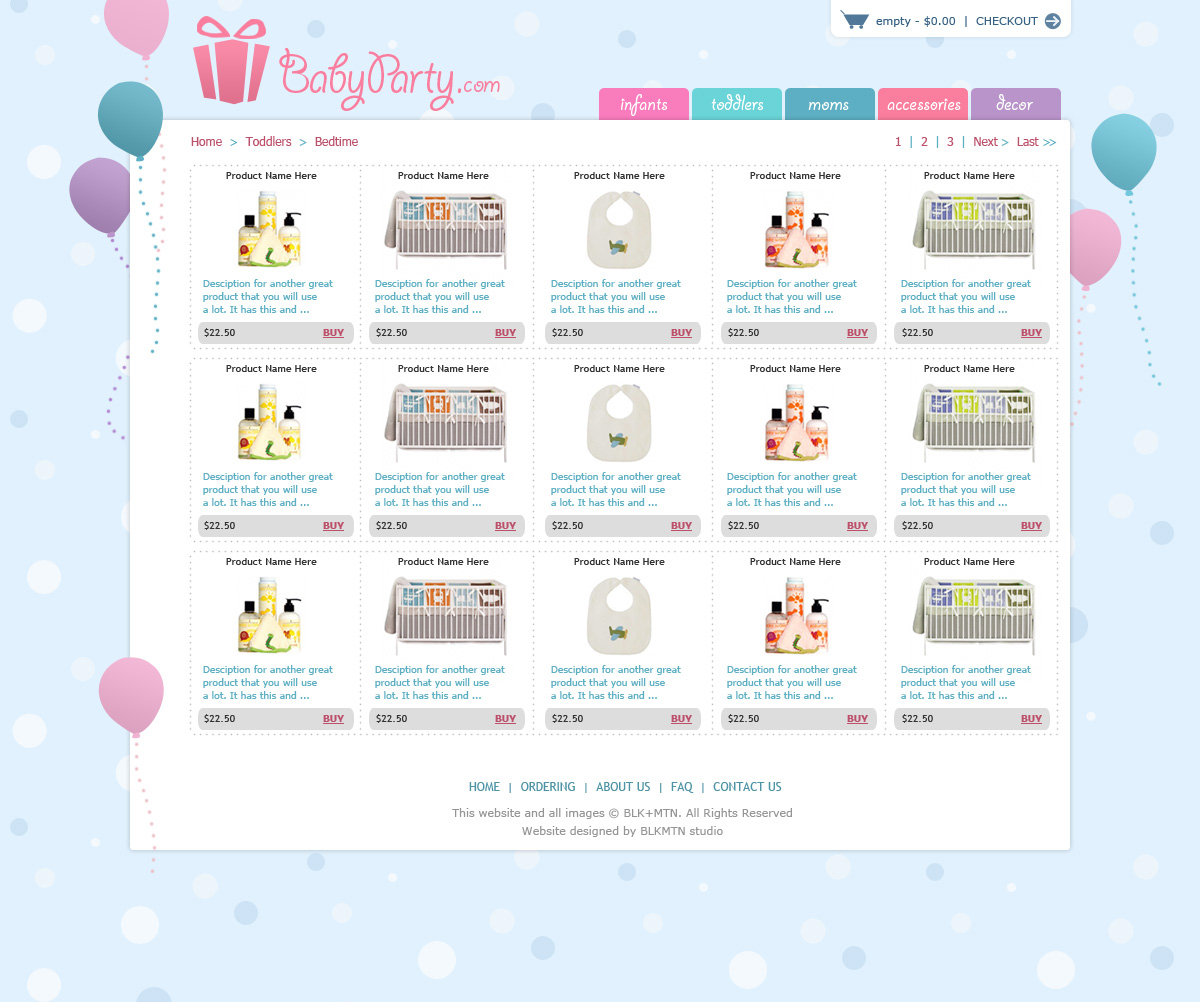 Baby Party - Products Page