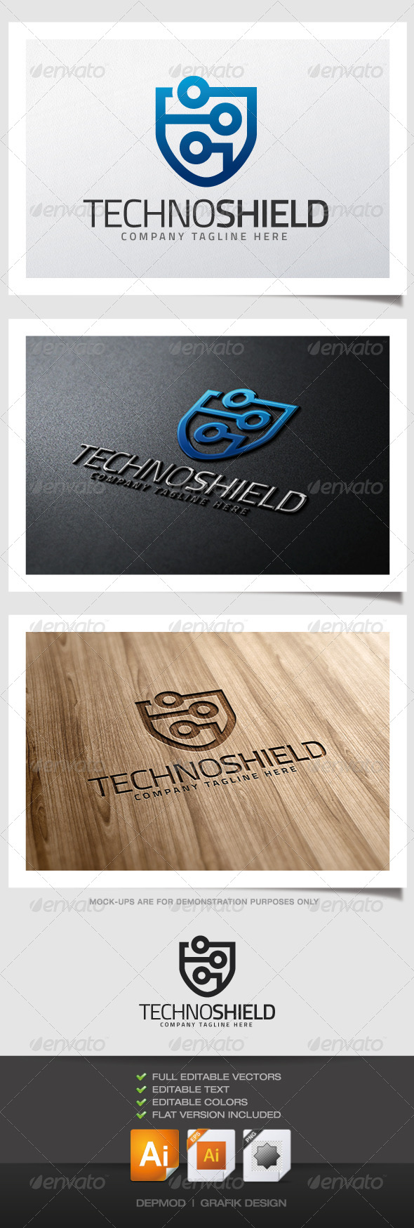 GraphicRiver Techno Shield Logo 5195668