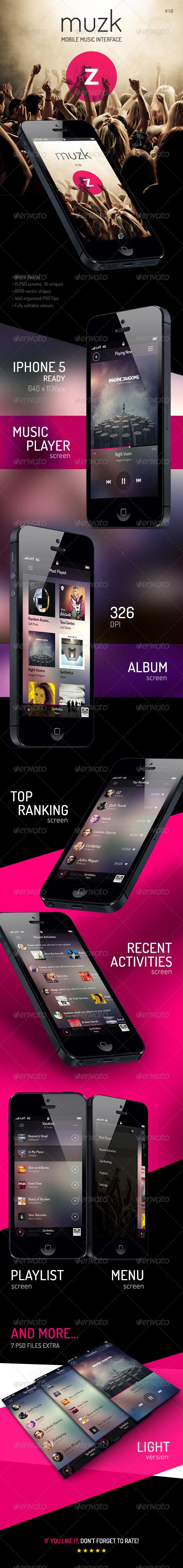 GraphicRiver Muzk Mobile App UI 5196259