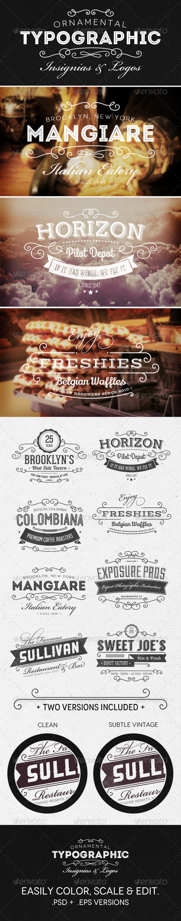 GraphicRiver Ornamental Typographic Insignias Logos 5196842