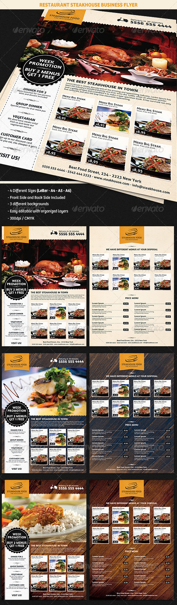 GraphicRiver Restaurant SteakHouse Advertising Business Flyer 5197647