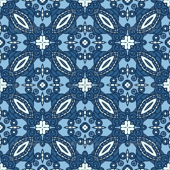 GraphicRiver Seamless Blue Retro Pattern Background 5197697