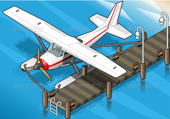 GraphicRiver Isometric Seaplane Moored at the Pier Front View 5198365