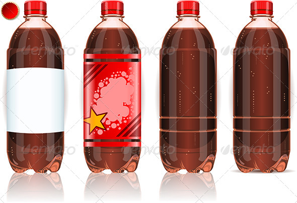 GraphicRiver Four Plastic Bottles of Cola with Labels 5198473