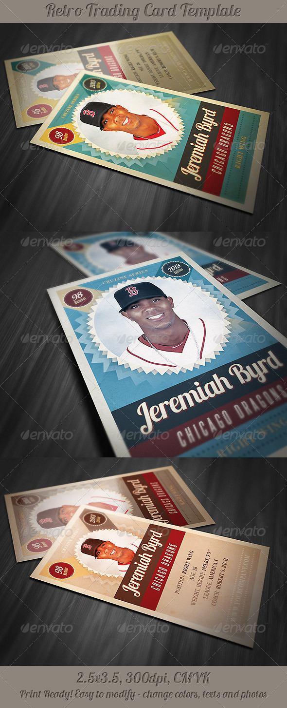 Retro Trading Card Template 3