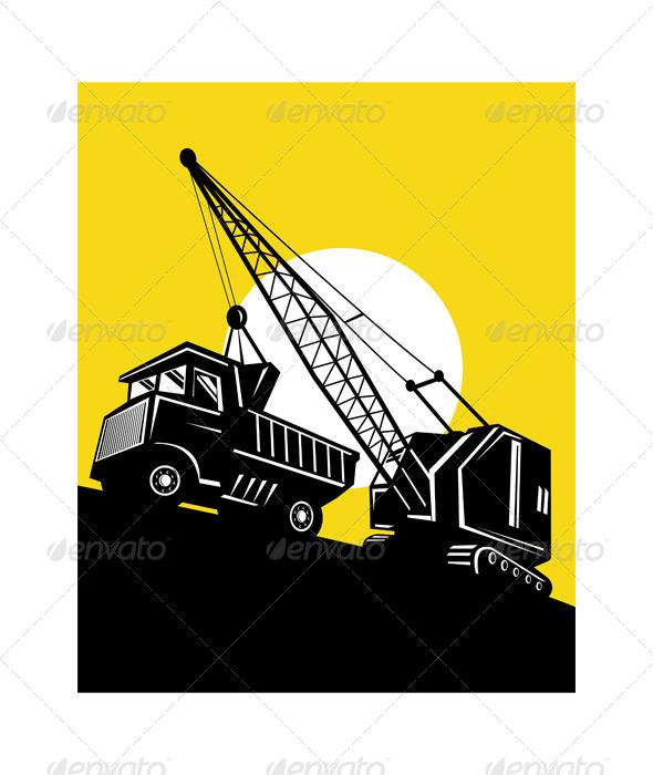 GraphicRiver Boom Crane Loading Mining Dump Truck 5198519