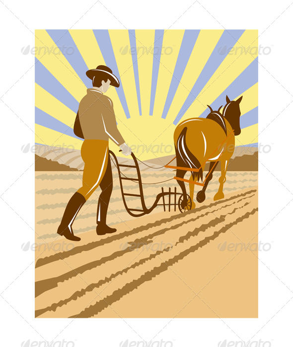 GraphicRiver Farmer and Horse Plowing the Farm 5198593