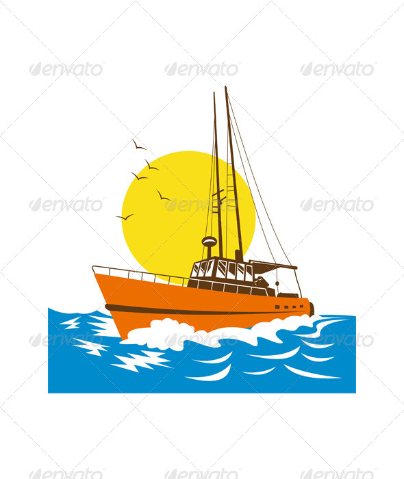 GraphicRiver Fishing Boat at Sea 5198642
