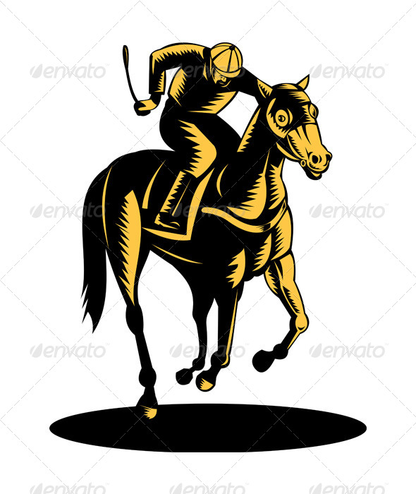 GraphicRiver Horse and Jockey Racing Woodcut 5198650