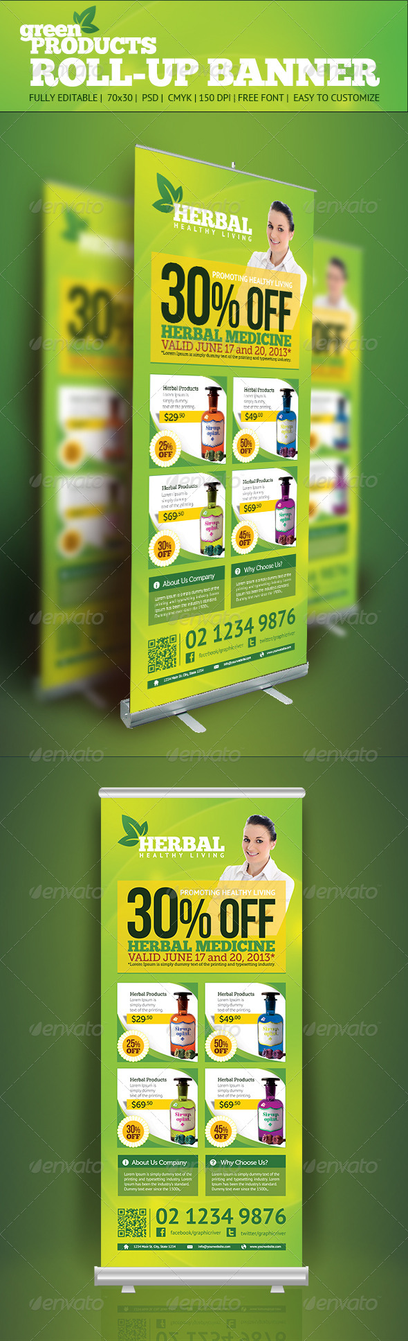 Product Roll Up Banner - Signage Print Templates
