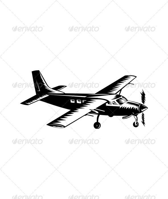 GraphicRiver Propeller Airplane Retro 5198757