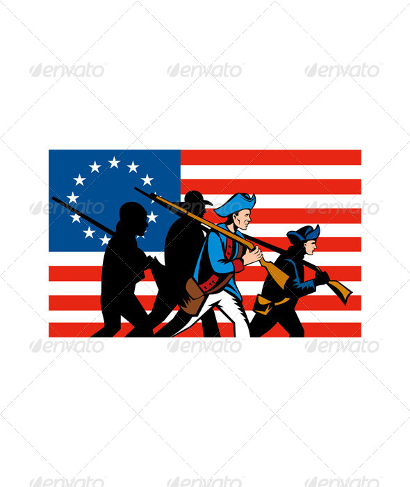 GraphicRiver American Minuteman Militia Betsy Ross Flag 5198828