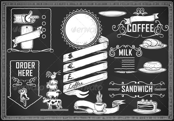 GraphicRiver Vintage Graphic Element Set for Bar Menu 5198874