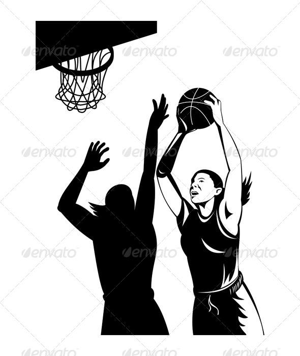 GraphicRiver Basketball Player Laying Up Ball 5199054