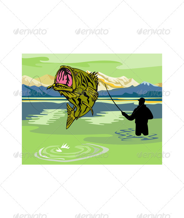 GraphicRiver Largemouth Bass Jumping 5199059