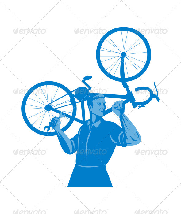 GraphicRiver Cyclist Mechanic Holding Bicycle 5199066