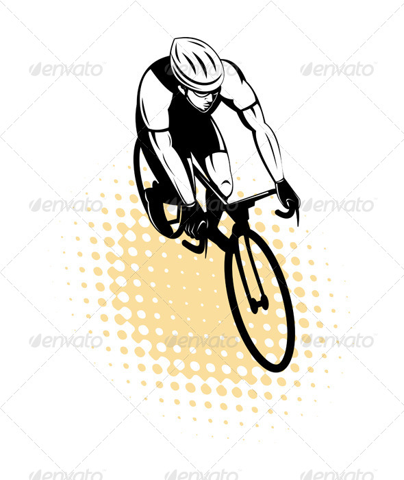 Male Cyclist Racing Bicycle