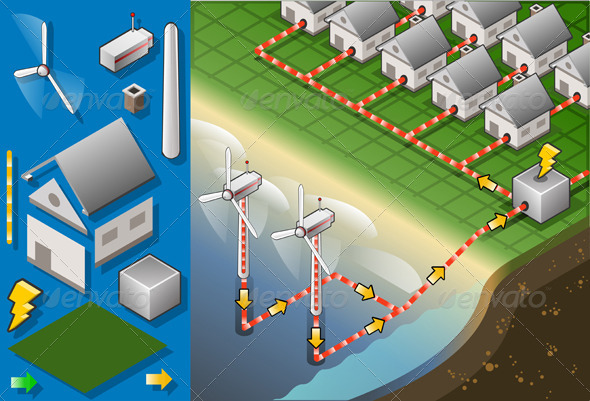 GraphicRiver Isometric Houses with Offshore Wind Turbines 5199279
