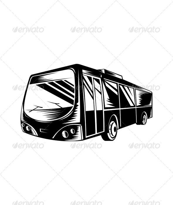 GraphicRiver Passenger Coach Bus Woodcut 5199297
