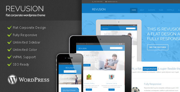 ThemeForest Revusion Flat Corporate Wordpress Theme 5192269