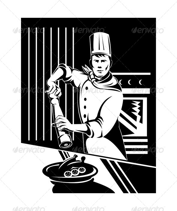 GraphicRiver Cook Holding Pepper Shaker 5199346