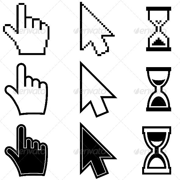 GraphicRiver Pixel Hand Arrow Hourglass Icons 5199375