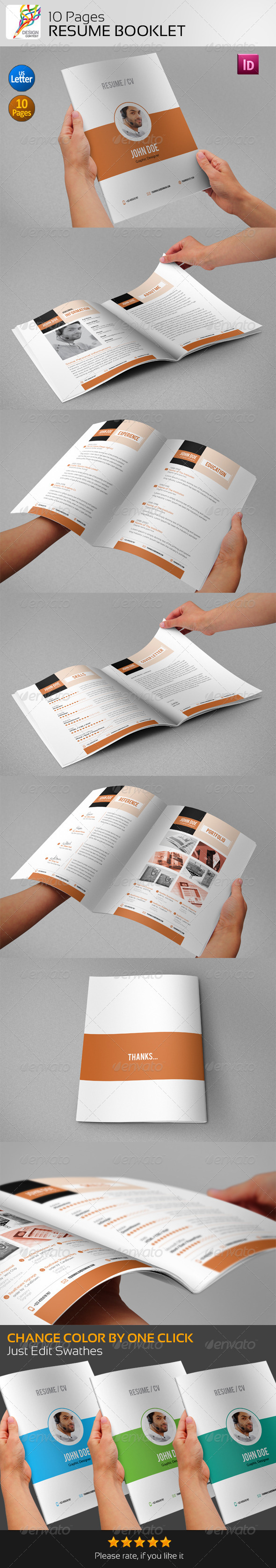 GraphicRiver Resume Booklet 10 Pages 5131822