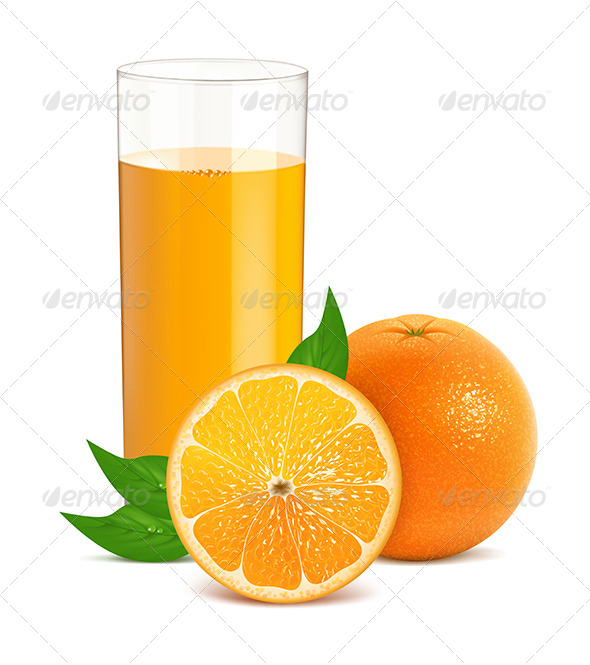 GraphicRiver Fresh Orange with Leaves and Glass with Juice 4585240