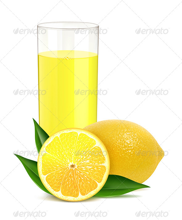 GraphicRiver Fresh Lemons with Leaves and Juice 4585247