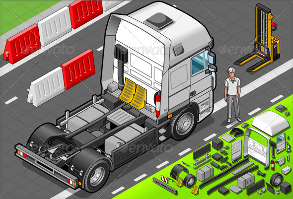 GraphicRiver Isometric Tow Truck Only Cab in Rear View 5200213