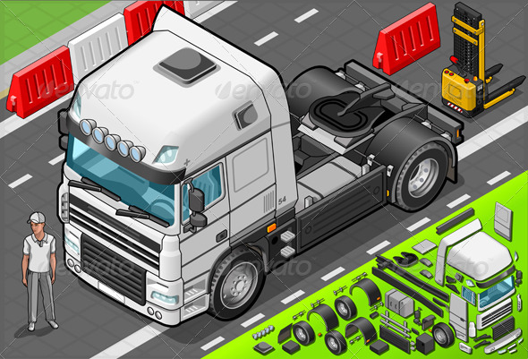 GraphicRiver Isometric Tow Truck Only Cab in Front View 5200214