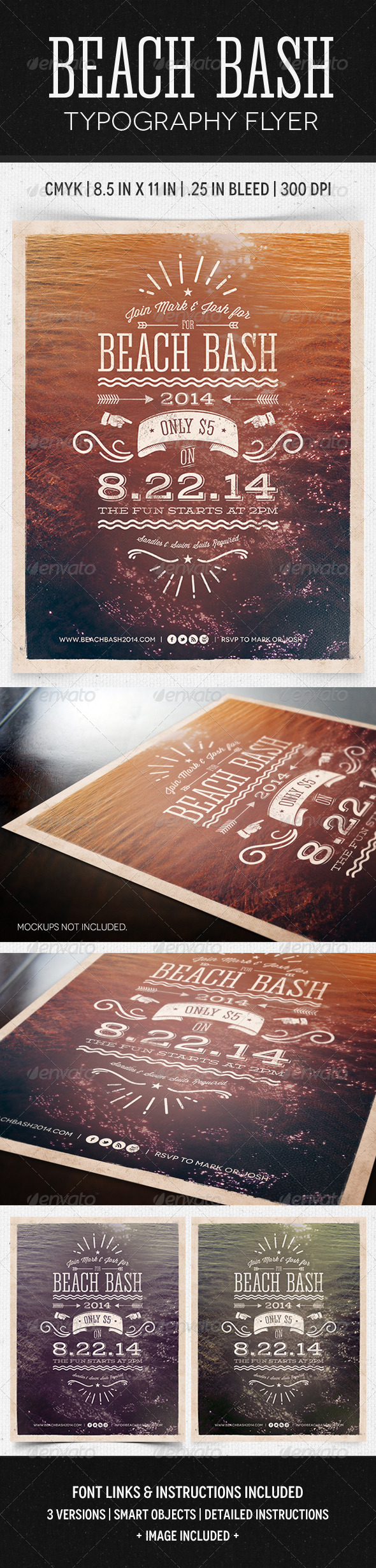 GraphicRiver Beach Bash Typographic Flyer 5136161