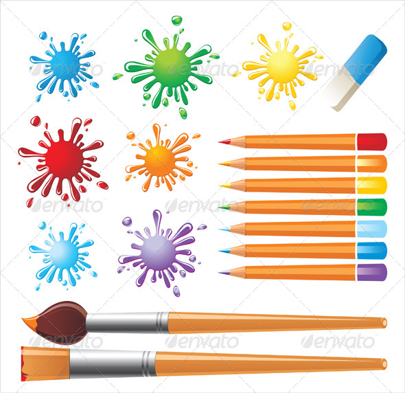 GraphicRiver Drawing Tools and Colored Blots 5200505