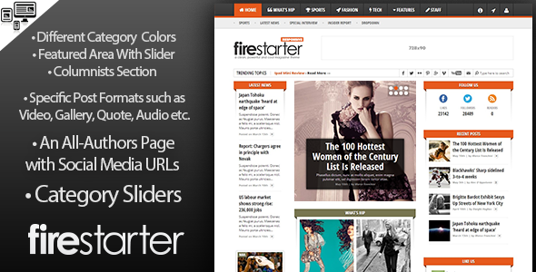 ThemeForest Firestarter Advanced Magazine News WP Theme 5022034