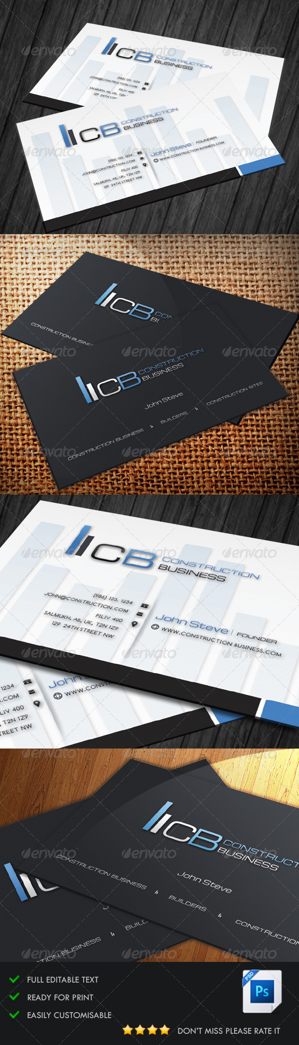 GraphicRiver Construction Business Card 5128571