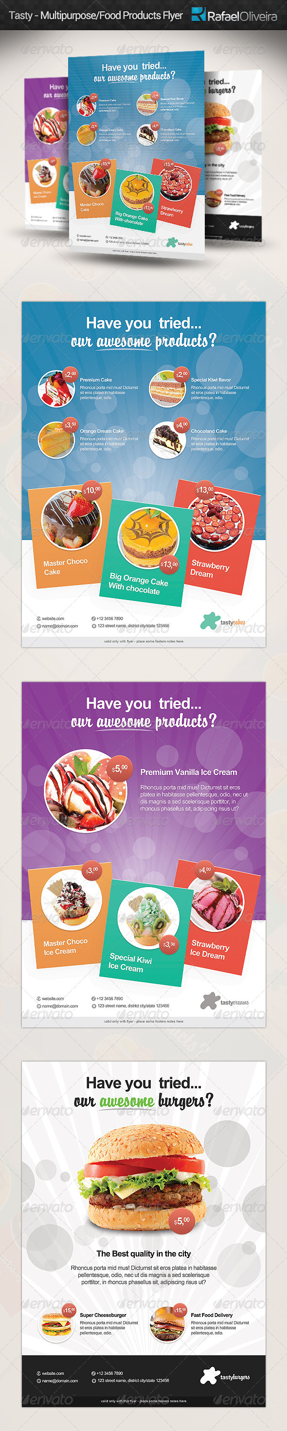 GraphicRiver Tasty Multipurpose Food Products Flyer 5206248