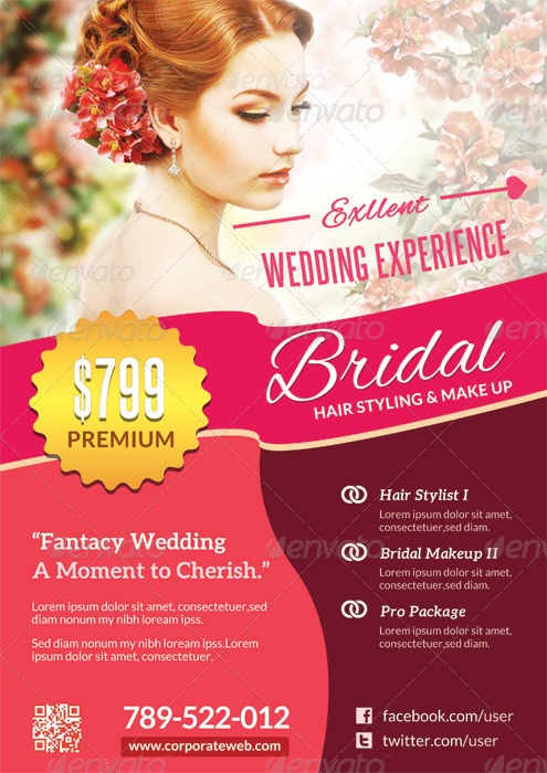 Wedding Hair And Makeup Template Free : Wedding Bridal Hair Stylist/Make up Flyer Template by ...