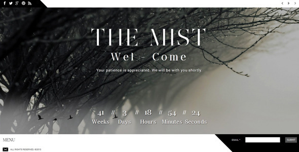 ThemeForest The Mist Responsive Coming Soon Page 5197143