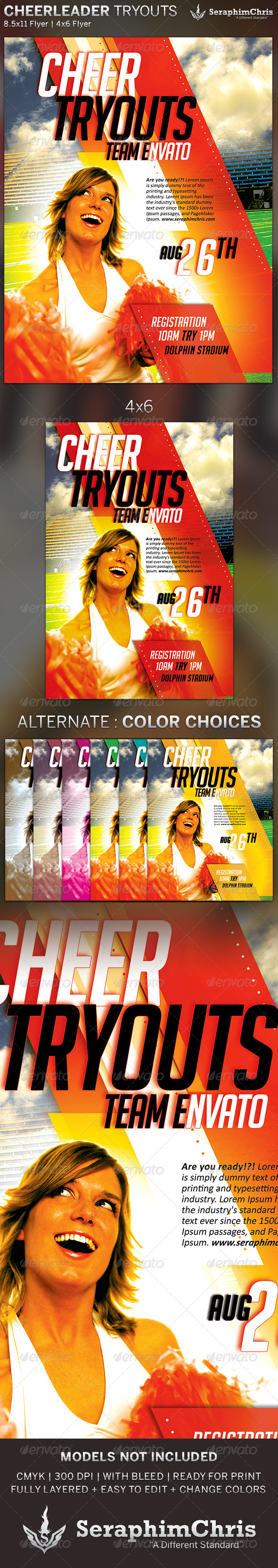 GraphicRiver Cheer Leading Tryout Flyer Template 5206703