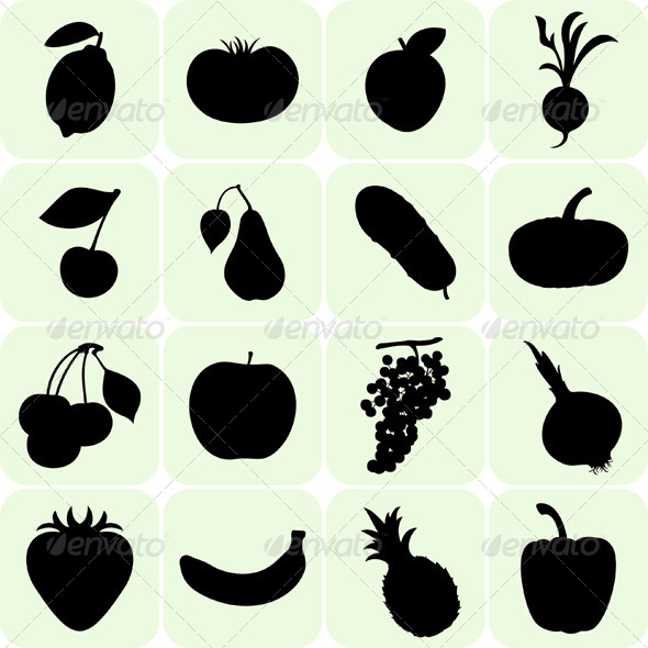 GraphicRiver Fruit and Vegetables Silhouettes 5206718