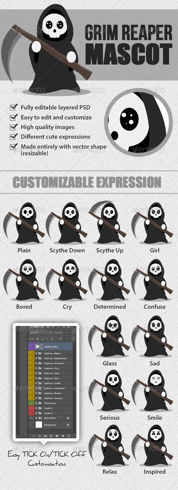GraphicRiver Grim Reaper Mascot 5206850