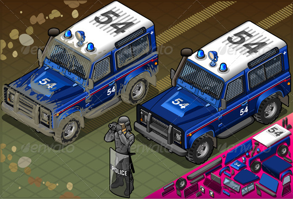 GraphicRiver Isometric Police Off Road Vehicle in Front View 5198239