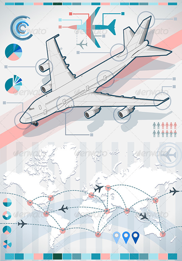 GraphicRiver Infographic Set Elements with Airplane 5207244