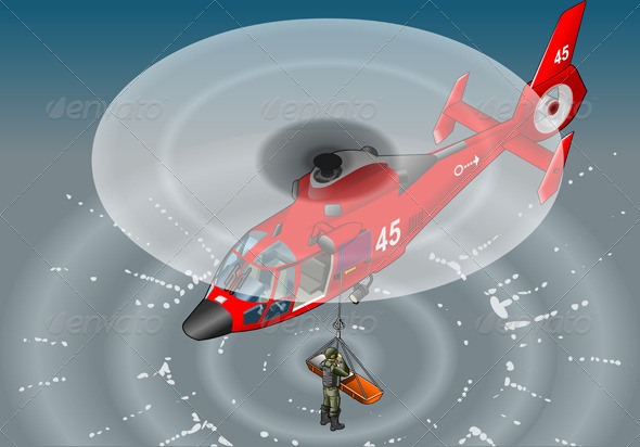 GraphicRiver Isometric Emergency Helicopter in Rescue 5207411