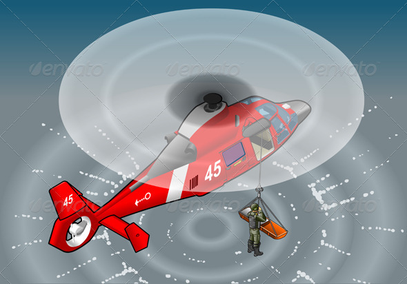 GraphicRiver Isometric Emergency Helicopter in Rescue 5207457