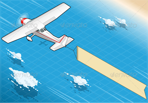 GraphicRiver Isometric White Plane in Flight with Aerial Banner 5207592