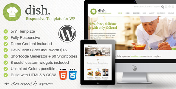 ThemeForest Dish Restaurant Multipurpose WordPress Theme 5109358