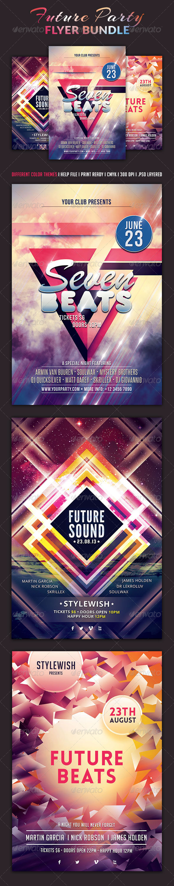 GraphicRiver Future Party Flyer Bundle 5208001